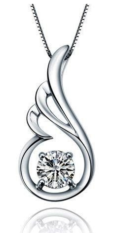 Sterling Silver Cubic Zirconia Classic Angel Wing Pendant Necklace for Women with Box Chain - SP013n1