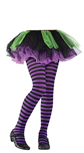 Purple and Black Striped Kids Tights - 1