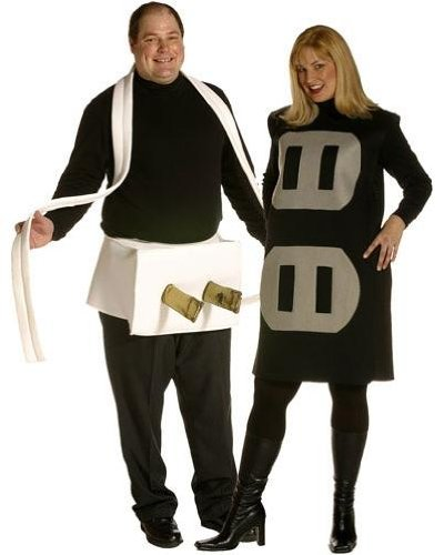 [Plug and Socket Plus Size Funny Couple Costume] (Plug And Socket Plus Size Costumes)