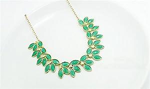 HITOP Persönlichkeit Übertrieben Schlüsselbein Halskette kurzen Absatz koreanische Version Blättern Halskette (grün)