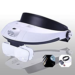 Yoctosun Handsfree Headband Magnifier with Detachable LED Head Lamp - 5 Replaceable and Interchangeable Lenses 1.0x - 3.5x - Clip 2 Lens together to Get Magnification Up to 3.0X - 6.0X