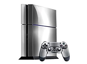 PlayStation 4 Skin (PS4) - - SILVER CHROME MIRROR system skins faceplate decal mod