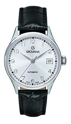 GROVANA - 3190.2532 - Montre Mixte - Automatique - Analogique - Bracelet Cuir noir