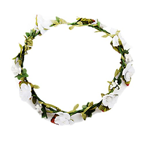 Floral Fall BOHO Headband Flower Crown Festival Wedding Beach Hair Wreath F-01 (White)