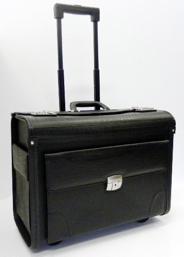 Mens Womens Wheeled Black Executive Business Laptop Travel Pilot Bag Briefcase