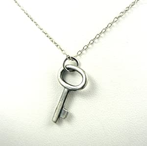 Antique Style Rustic Skeleton Key Sterling Silver Charm Necklace Tiffany Inspired Charm Jewelry