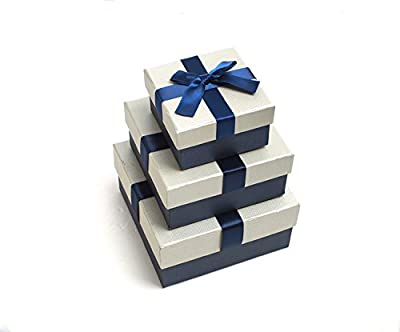 PaperStory-Premier 3 Pieces Nested Gift Box Set. With Dedicate Ribbon Bow. 6.3/5.3/3.7-Inch.