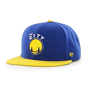 Golden State Warriors 47 Brand Blue Gold Vintage Big Shot Fitted Hat Cap (7 1 2) by