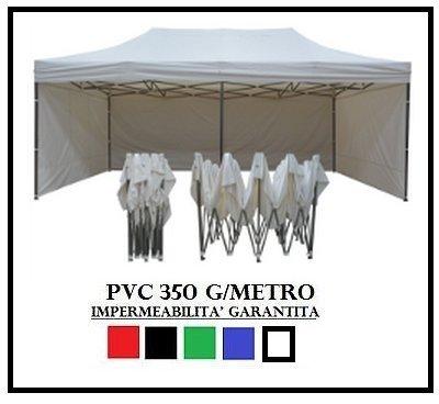Tonnelle pliante 3x6m en acier et 4 parois latérales en PVC 350g/m² Blanc