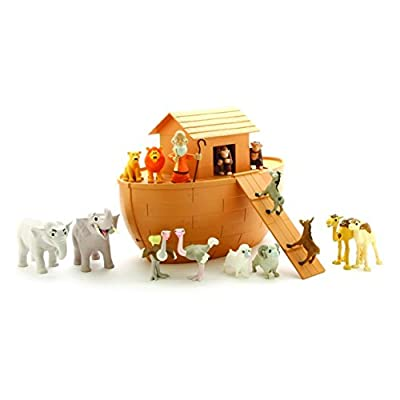 BibleToys Noah's Ark 18 Piece Playset with Noah, 14 Animals and Floating Ark- Christian Based Faith Children Toys