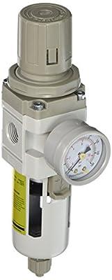 "PneumaticPlus SAW3000M-N03BG Air Filter Regulator Combo Piggyback, 3/8"" Pipe Size, NPT-Manual Drain, Poly Bowl with Gauge"