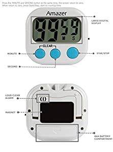 #1 BEST RATED TIMER Kitchen Timer, Amazer Digital Lound Kitchen Timer with Large Screen Magnet for Cooking Baking, Includes 1 AAA Battery