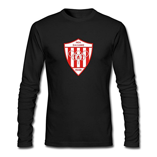 ZHENGXING Men's Nea Salamis Famagusta Football Club Logo Long Sleeve T-shirt S ColorName