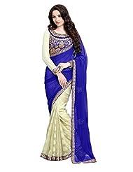 Party Wear Cream Indian Saree Embroidery Wedding Sari