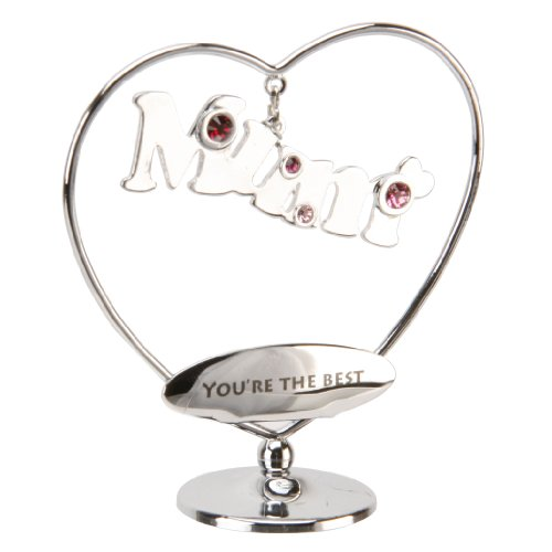 Crystocraft Gift Ornament- Mum You're the Best with Swarovski Crystal Elements