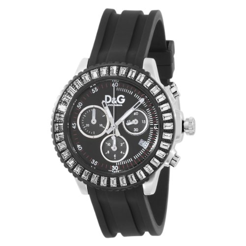 D & G Madam Ladies Quartz Watch with Black Chronograph Dial and Black PU Strap