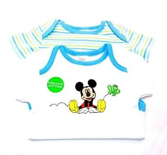 Disney Mickey Mouse 100% ORGANIC COTTON Stretchie Bodysuit for Infants, 2 Piece (18m)