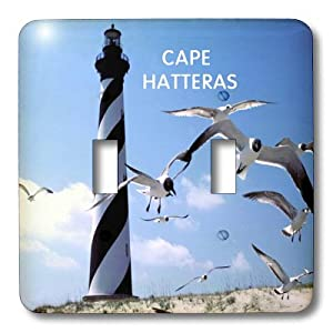 3dRose  lsp_80800_2 Cape Hatteras Lighthouse in North Carolina with Birds Flying Double Toggle Switch
