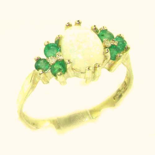 Ladies Contemporary Solid 14ct Yellow Gold Natural Opal & Emerald Ring - Size P - Finger Sizes K to Y Available - Suitable as an Anniversary, Engagement or Eternity ring.