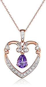 """XPY 10k Rose Gold Pear Shaped Light Amethyst and Diamond-Accent Heart Pendant Necklace, 18"""""""