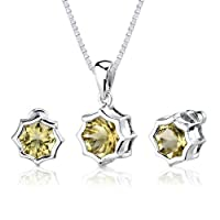 Exclusive Splendor: 6.75 carat Concave-Cut Snowflake Shape Lemon Quartz Pendant Earring Set in Sterling Silver Rhodium Nickel Finish from Peora