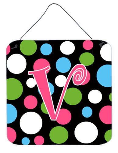Letter V Initial Monogram - Polkadots And Pink Foam Wall Or Door Hanging Prints From Caroline'S Treasures