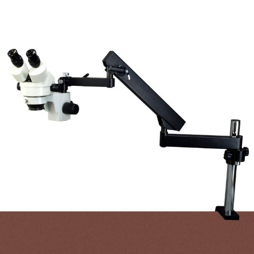 Omax 7X-45X Zoom Articulating Arm Binocular Stereo Microscope With Vertical Post And Y-Type 6W Led Gooseneck Light