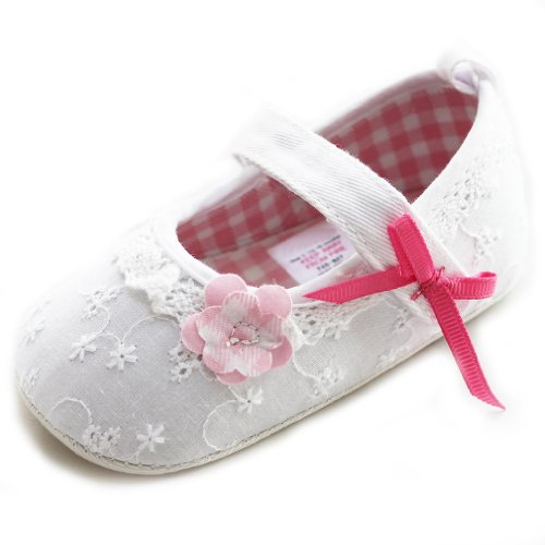 Toddler Baby Girls Princess White Flower Red Bow Shoes Exue