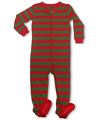 """Leveret Footed """"Christmas Themed Striped"""" Pajama Sleeper 100% Cotton (Size 6M-5T) (4 Toddler, Green / Red)"""