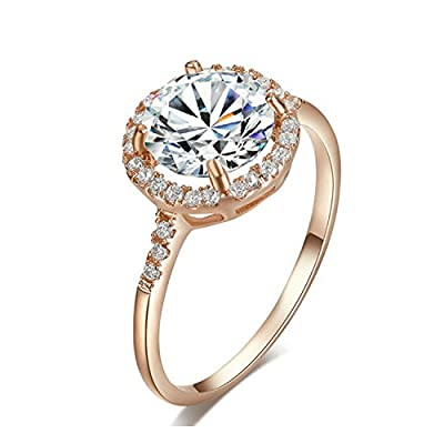 Yoursfs 2CT Simulated Diamond Princess Crown Wedding Rings 18k Gold Plated