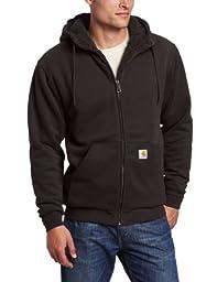 Carhartt Men\'s Big & Tall Collinston Brushed Fleece Sherpa Lined Sweatshirt,Black,XXX-Large Tall