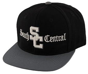 Black/Grey South Central Flat Bill Snapback Adjustable Baseball Cap