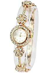 Zeagoo Women's Alloy Crystal Quartz Plum Blossom Bracelet Bangle Wrist Watch Rose Golden