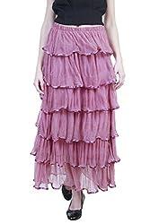 Showoff Women's Peach Net Full-length Skirt