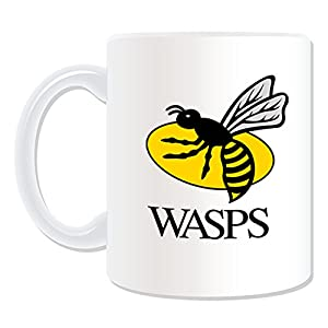 Personalised Gift - London Wasps Mug (Rugby Union Club Design Theme, White) - Any Name / Message on Your Unique Mug - Waspies Insects from ePorter