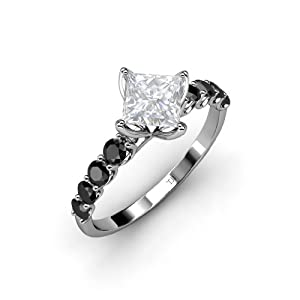 Created White Sapphire Princess Cut and Black Diamond Engagement Ring 1.73ct tw in 14K White Gold.size 7.0