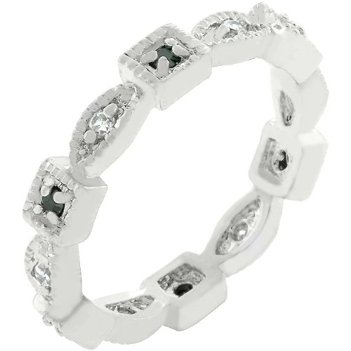Rhodium Plated Cubic Zirconia Bezel Set Eternity Band in Size 6