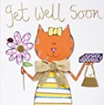Handmade Gold Ribbon and Cat Get Well...