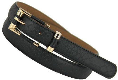PSEZY Women Crocodile pattern thin belt leather belt strap all-match Belts Leather Belts