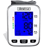 Wrist Blood Pressure Monitor by Veratrue - Includes: Fully Automatic Monitor, 2AAA & Carrying case - XXL LCD Display, Blue Backlight, Irregular Heartbeat Detector, Memory (Tamaño: Wrist Monitor)