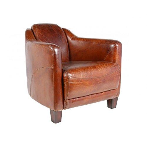 Fauteuil club en cuir marron vintage