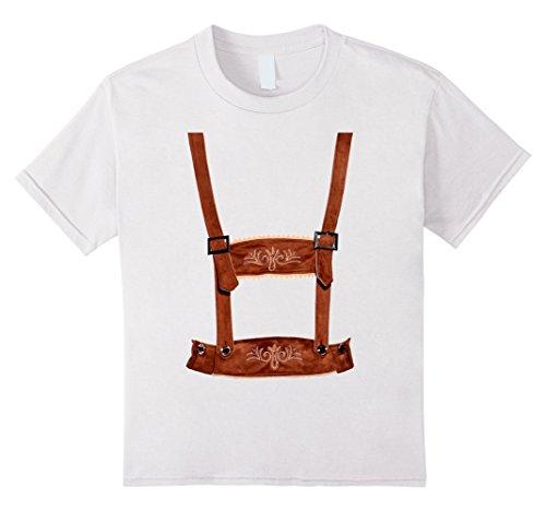Kids Vintage Lederhosen Shirt German Oktoberfest Costume T-Shirt 4 White (German Costumes For Kids)