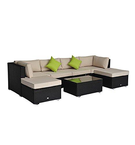 homcom Gartenmöbel Luxus Polyrattan Lounge Loungeset 21-er teilig Rattan Gartenset Sitzgruppe Loungemöbel Garnitur inklusive Kissen Gestell aus Alu Dekokissen gratis, schwarz