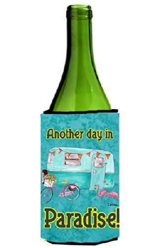 Fun And Unique Mother's Day Gift Idea Guide For Camping Moms - Another Day in Paradise Retro Glamping Trailer Wine Bottle Beverage Insulator