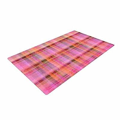 "KESS InHouse CG1019ADR02 Carolyn Greifeld ""Watercolor Pink Plaid"" Yellow Pattern Woven Area Rug, 4' X 6',,"