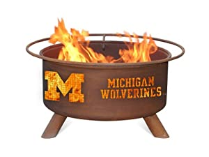 University of Michigan Wolverines Portable Steel Fire Pit Grill by Patina