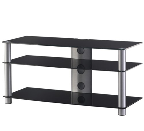 Sonorous Lf6330 Black Glass And Silver Aluminium Stand For Tv Sizes Upto 42inch