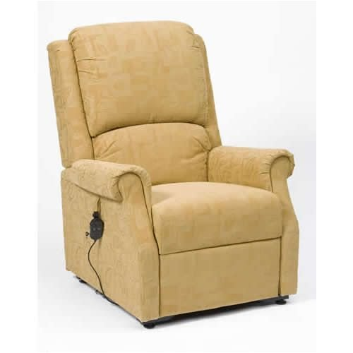 Rise Recline Armchair Gold Fabric Chicago Premium Delivery