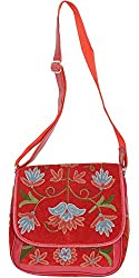 Exotic India Garnet-Red Handbag from Kashmir with Ari Embroidered Flowers - Red