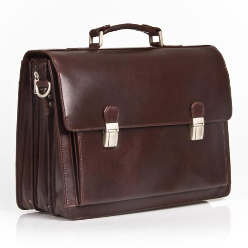 EXECUTIVE ITALIAN DARK BROWN REAL LEATHER BRIEFCASE